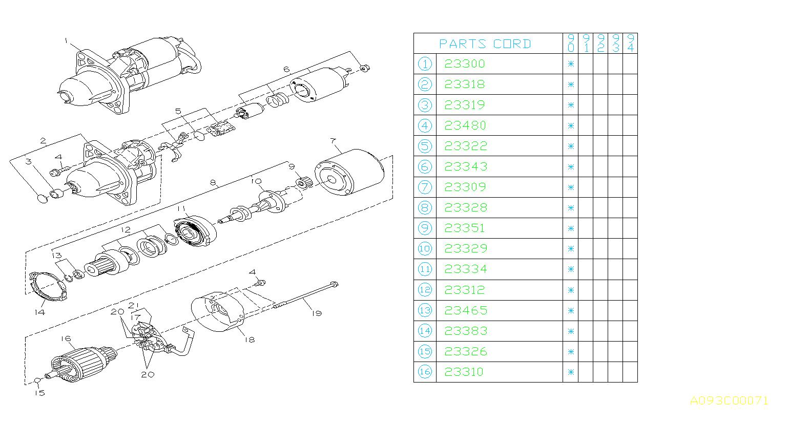 Subaru Loyale Starter Motor Assembly