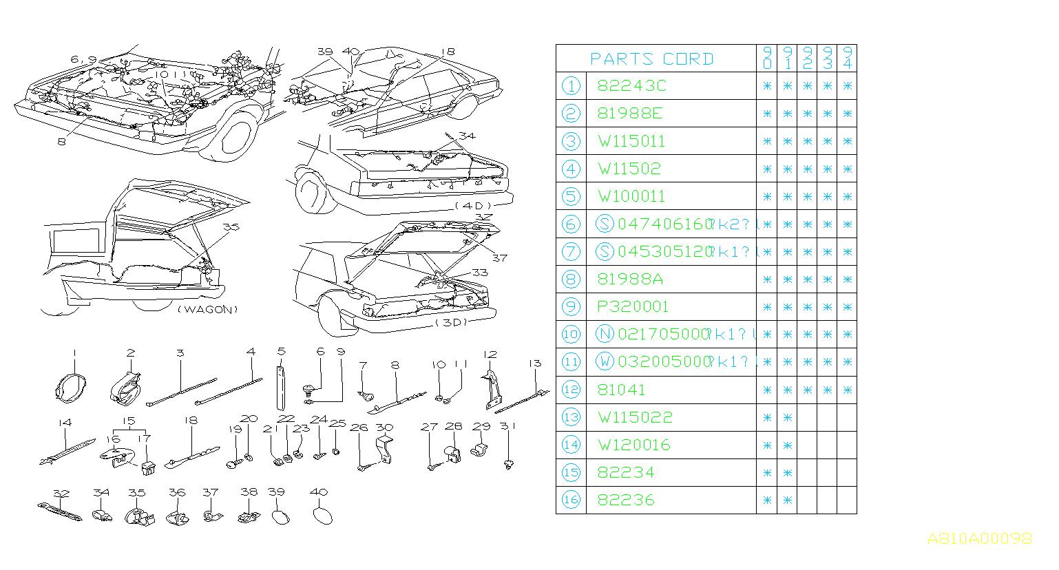 Subaru Loyale Clip  Harness  Wiring  Main