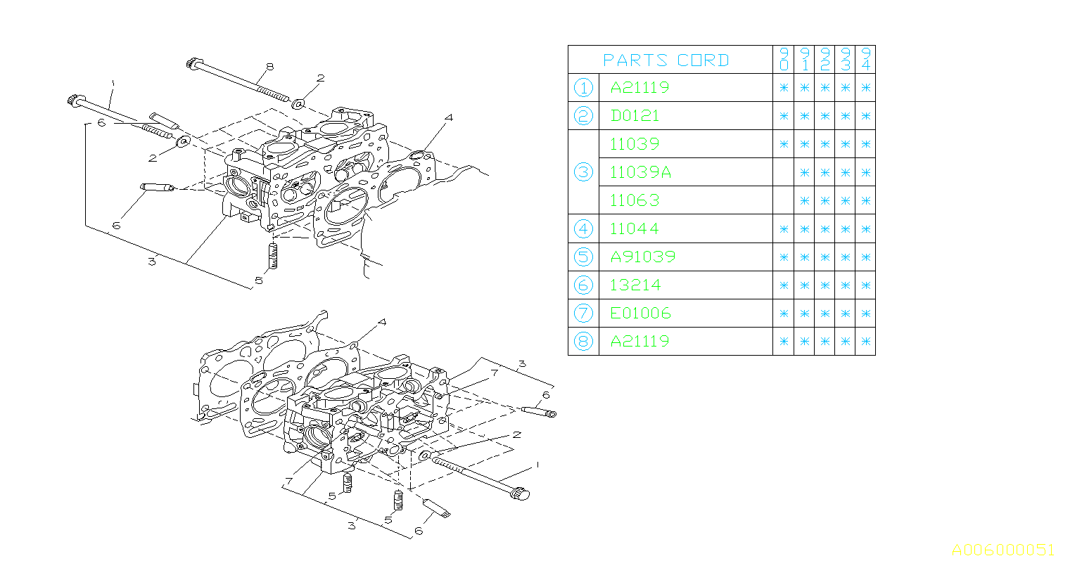 1994 Subaru Legacy Engine Cylinder Head Gasket -12. 13-29 ...