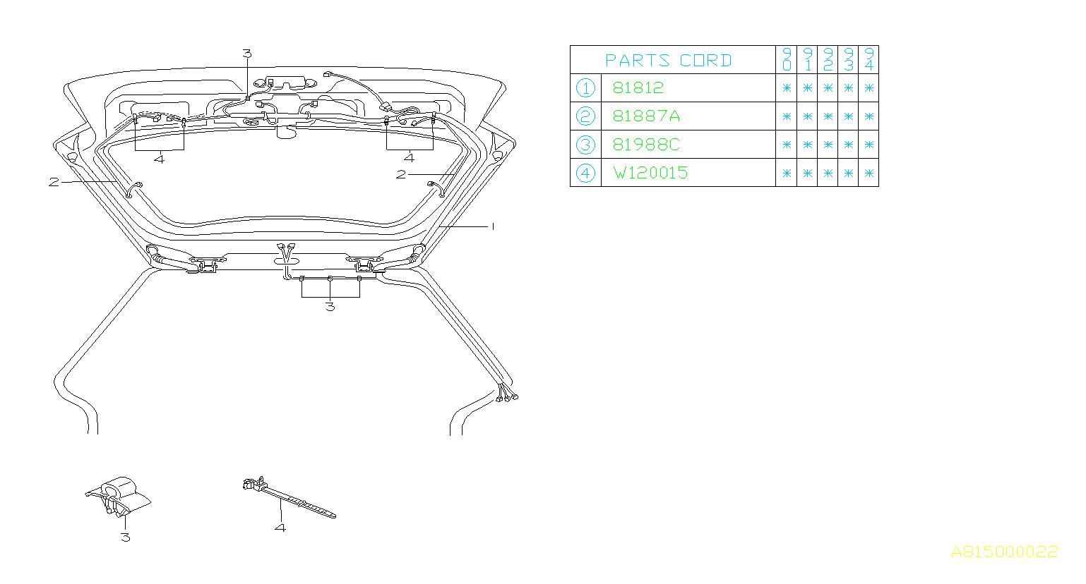 1990 Subaru Legacy Cord