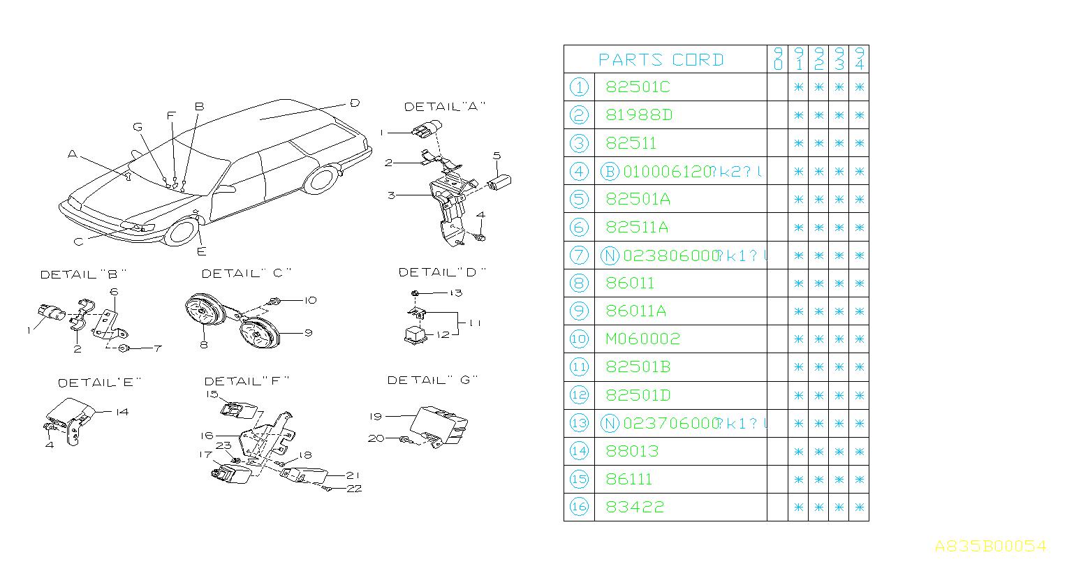 1993 Subaru Legacy Relay Wiper   Rear   Electrical  Body