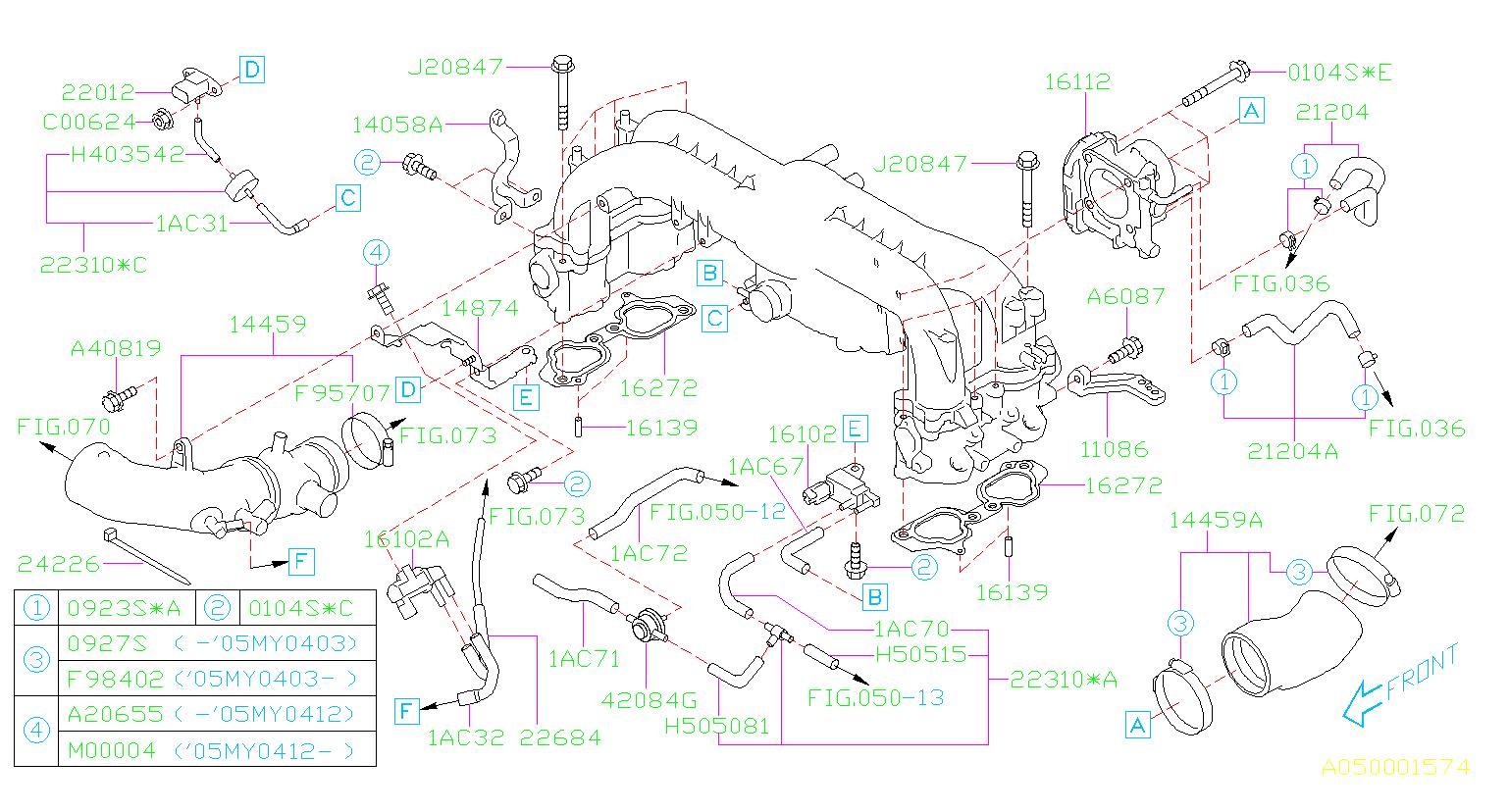 2005 Subaru Outback Hose Vacuum  Maintenance