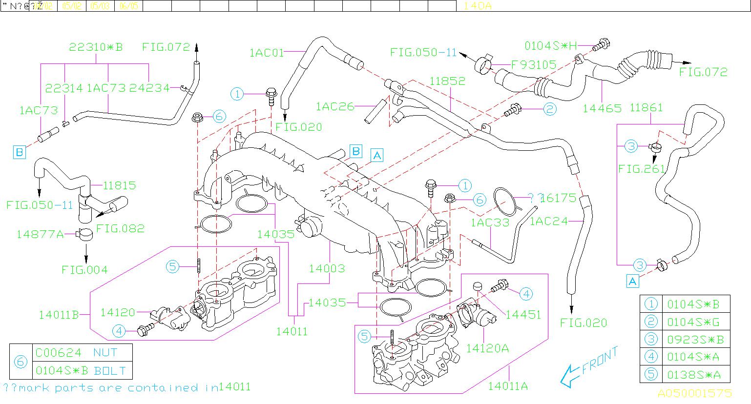 Subaru Legacy Engine Intake Manifold - 14011AB540 | Kirby ...
