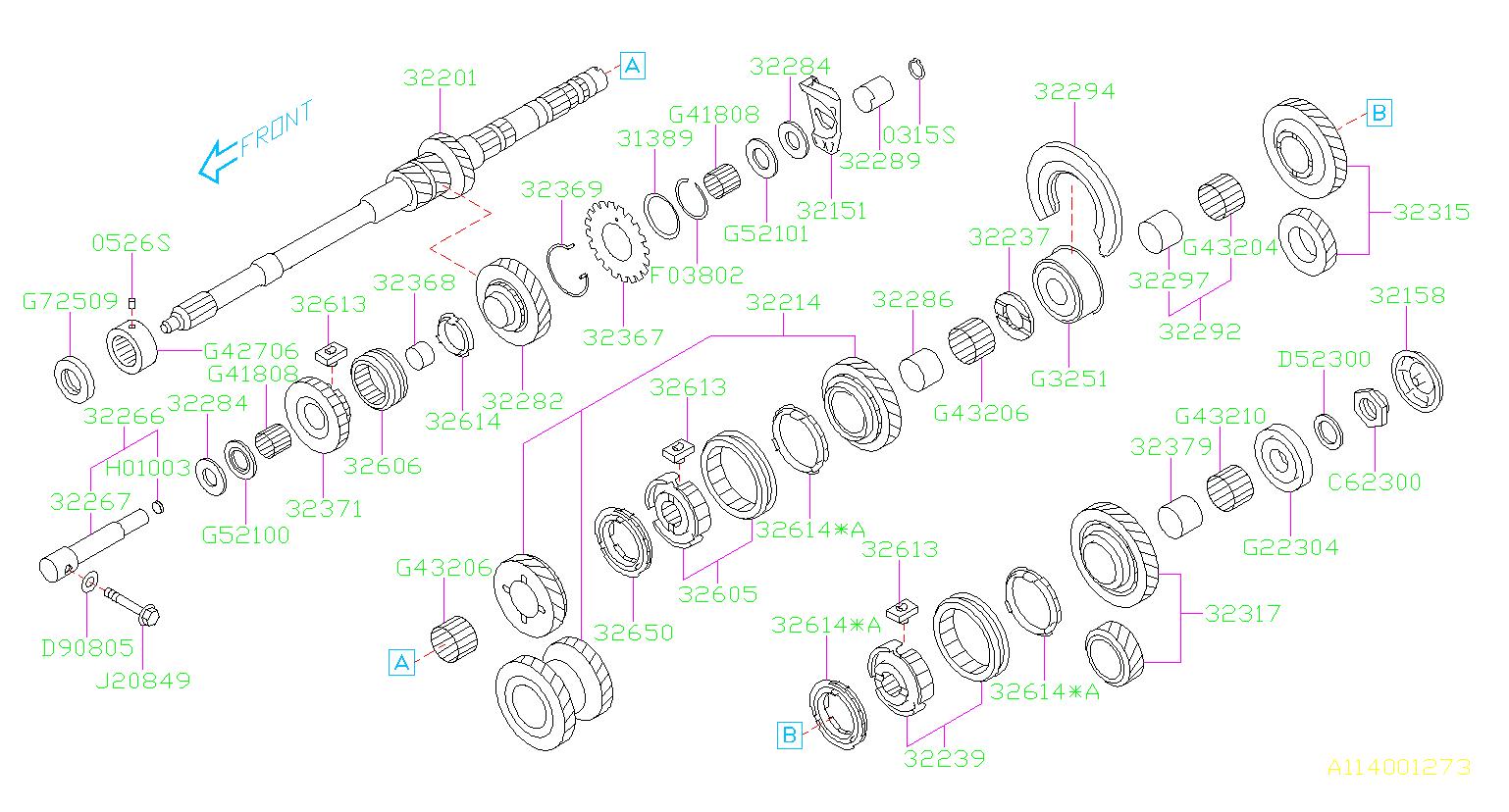 2013 Subaru Outback Manual Transmission Idler Bearing ...