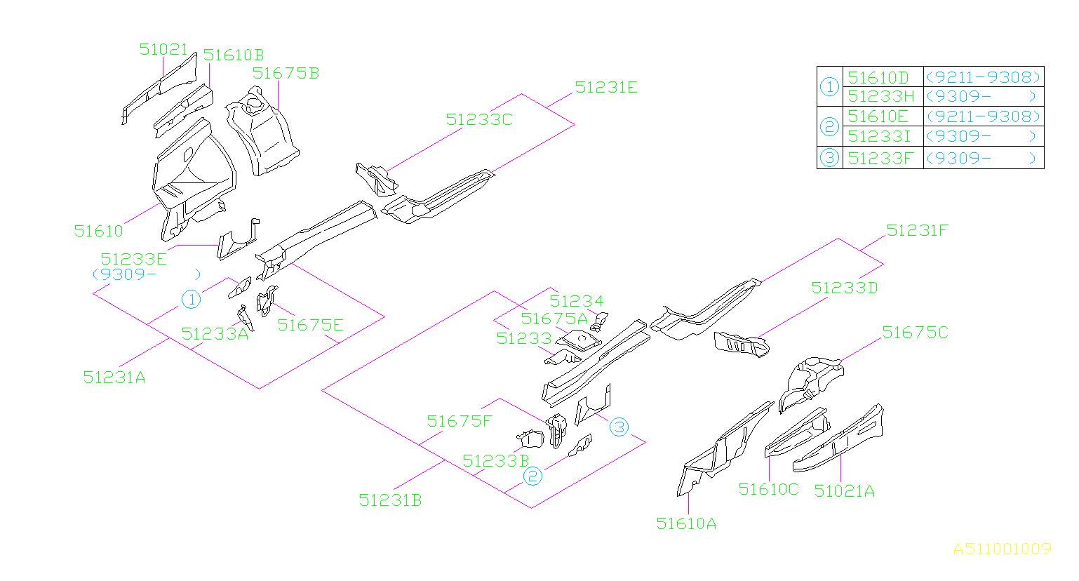 Subaru       Impreza    Reinforcementapron lower  right Wheel  body  51233AC520   Kirby    Subaru     Ventura CA