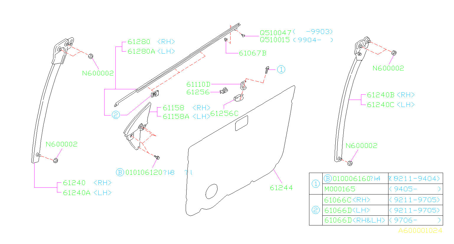Subaru Impreza Bracket Door Trim Front Panel System