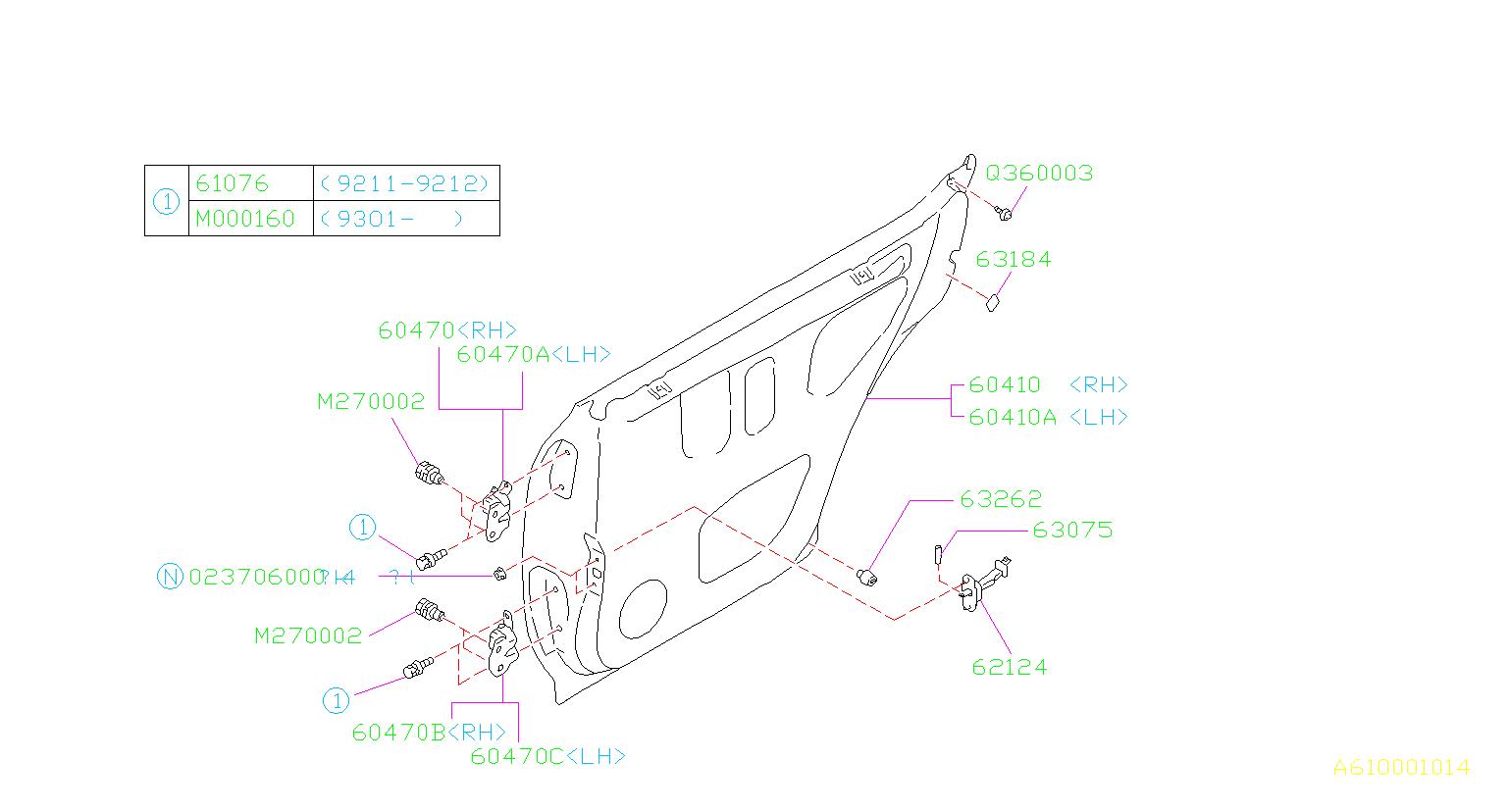 Subaru Impreza Label Child Lock Door Rear Latch
