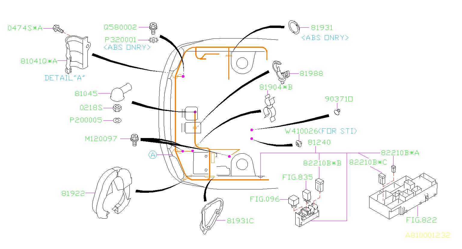 Subaru Impreza Clamp Altr Harness  Wiring  Main  Front