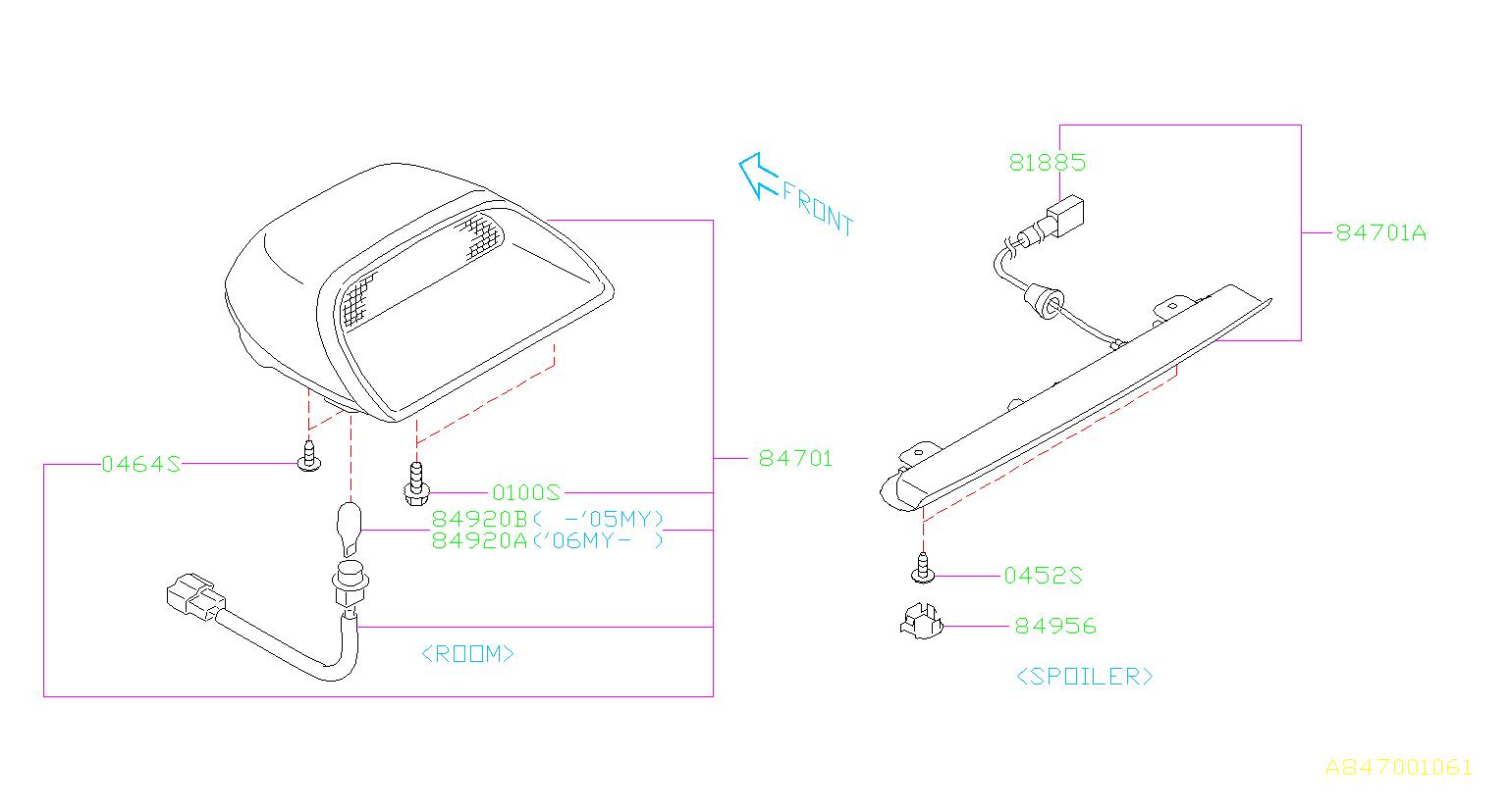 Subaru       Impreza    Lamp assemblyhigh mount spoiler Stop