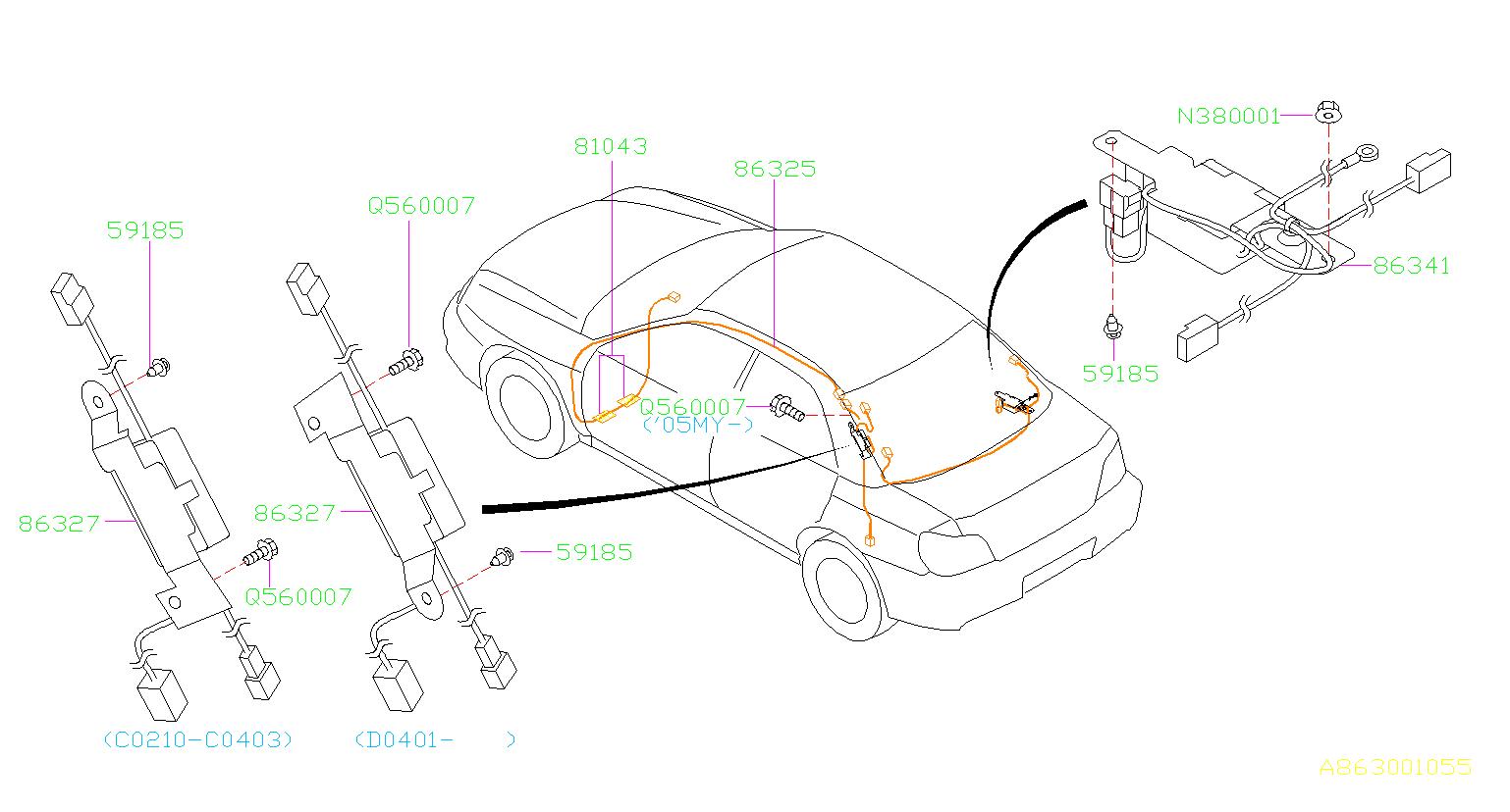 Subaru       Impreza    Amplifier assemblyantenna Glass