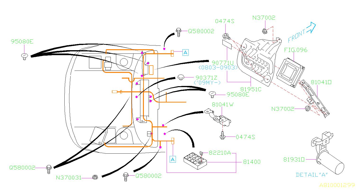 Subaru Wrx Connector Bracket Obd2  Wiring  Main  Harness