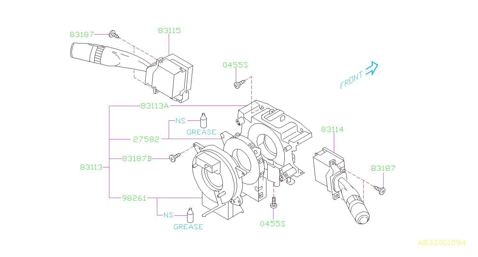 2013 subaru wrx combination base-switch assembly  electrical