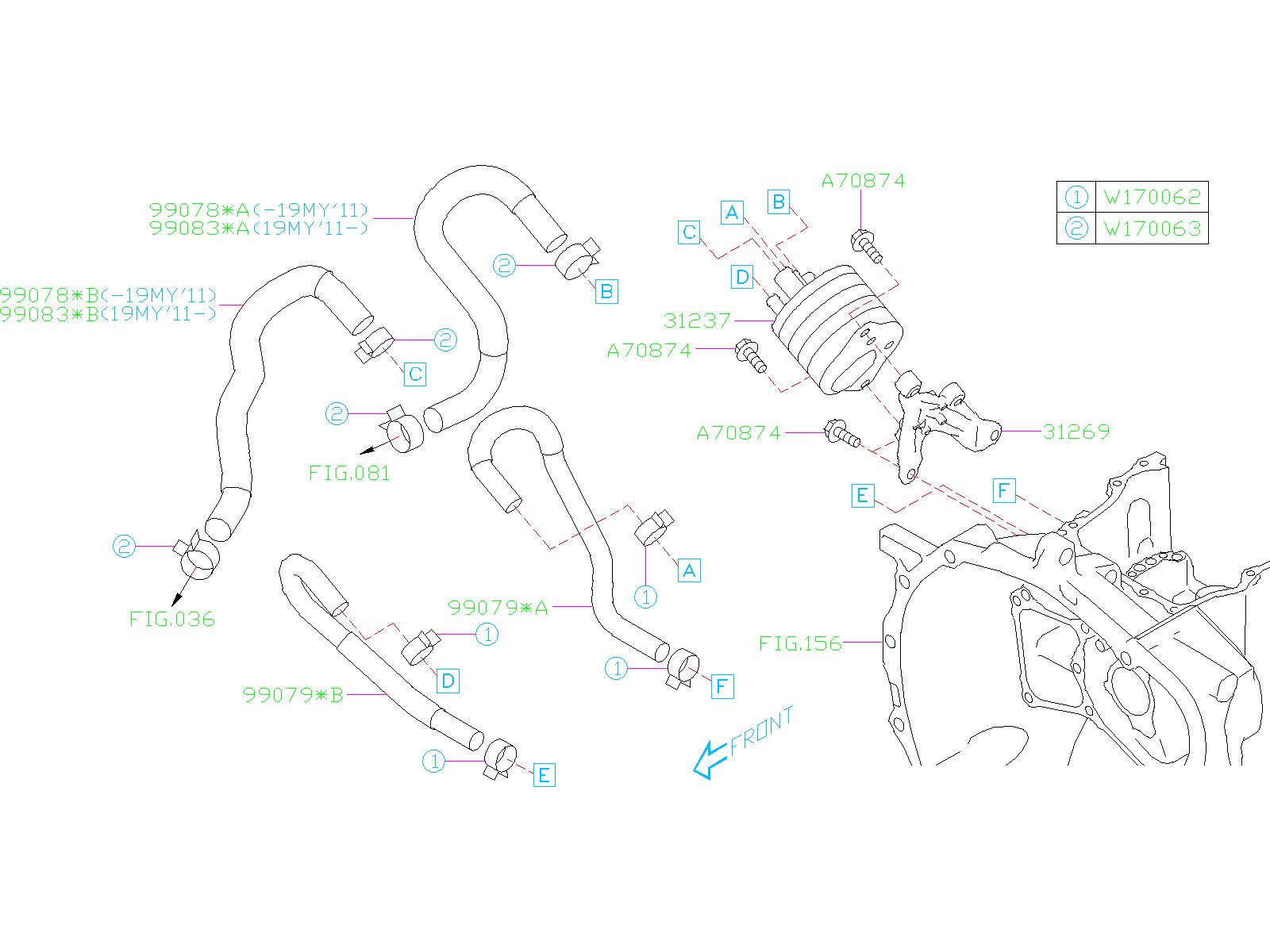 subaru impreza hose clamp transmission control case. Black Bedroom Furniture Sets. Home Design Ideas
