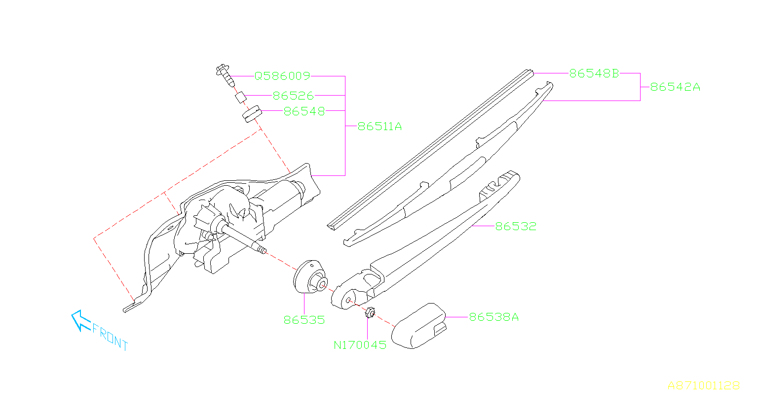 2014    Subaru    Blade assemblyrear wiper Maintenance  blades