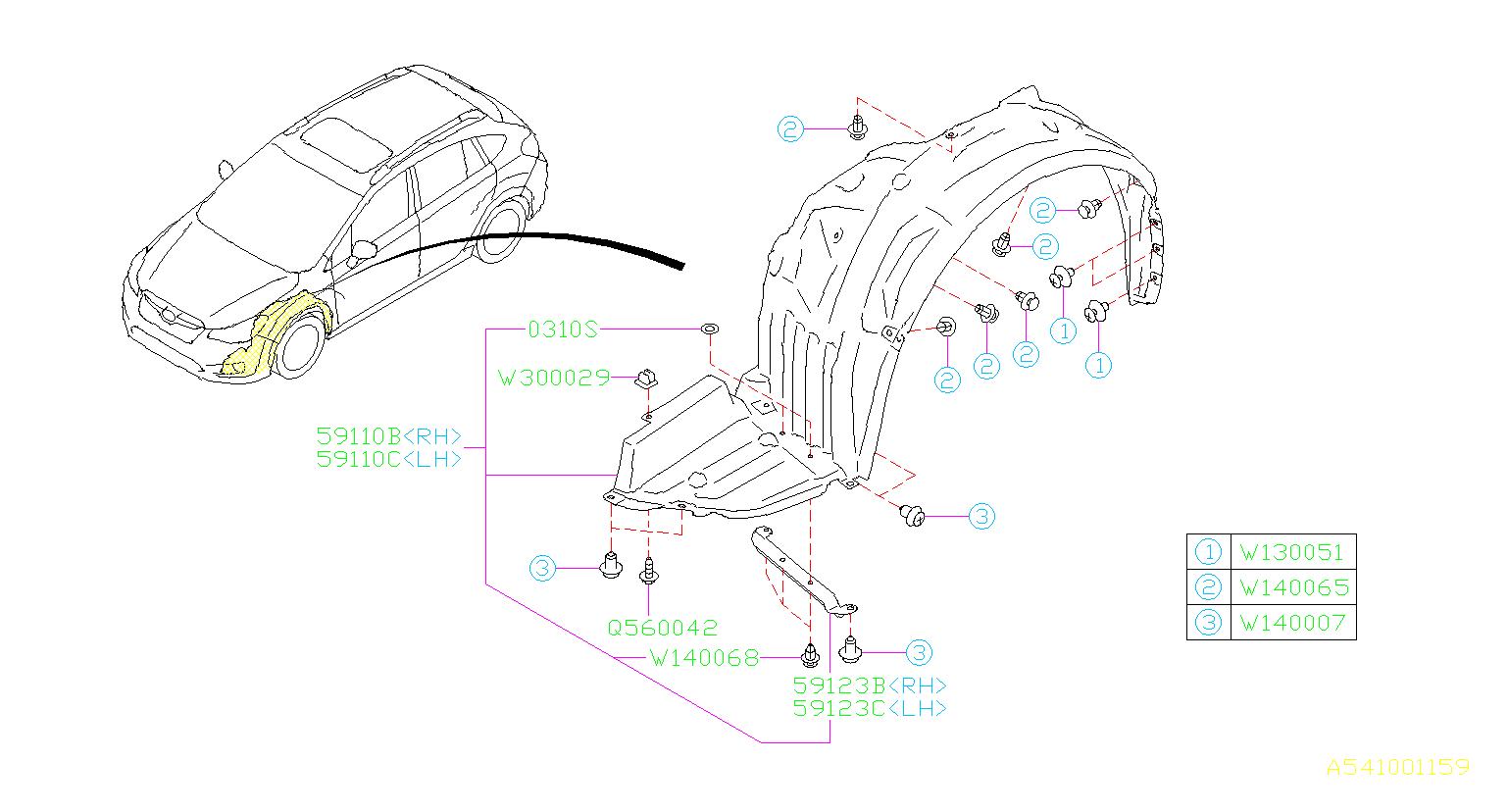 Subaru Crosstrek Fender Splash Shield  Right  Front