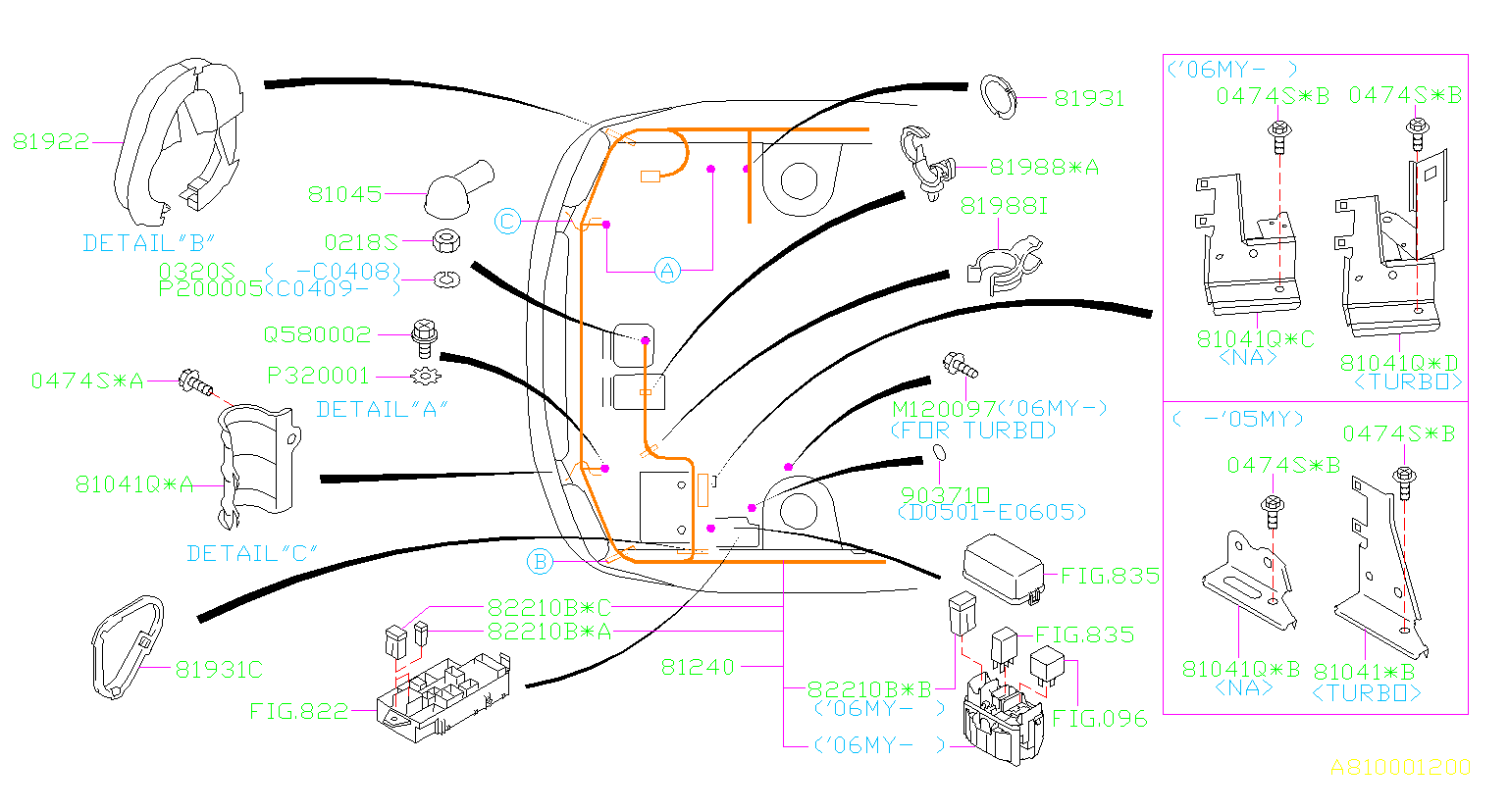 2006 Subaru Forester Bracket  Wiring  Main  Harness  Front