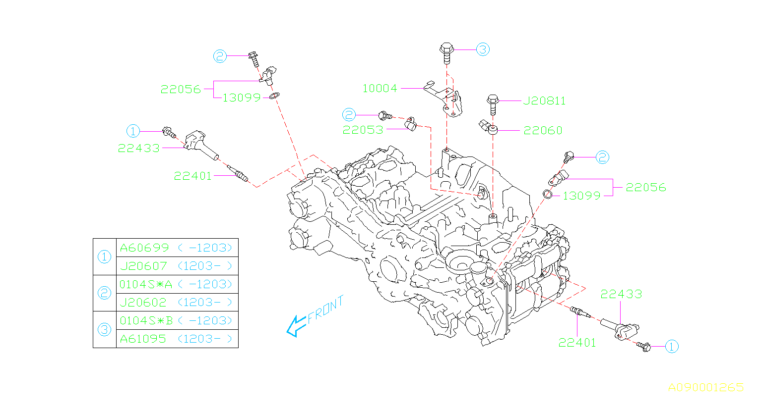Subaru Forester Bolt  Bolt 10x20x20  Tension  Spark  Plug