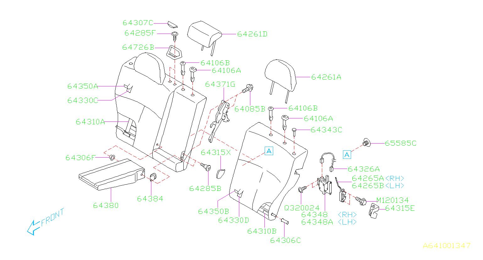 2010 Subaru Forester Lock Assembly Back Rest Rear Left
