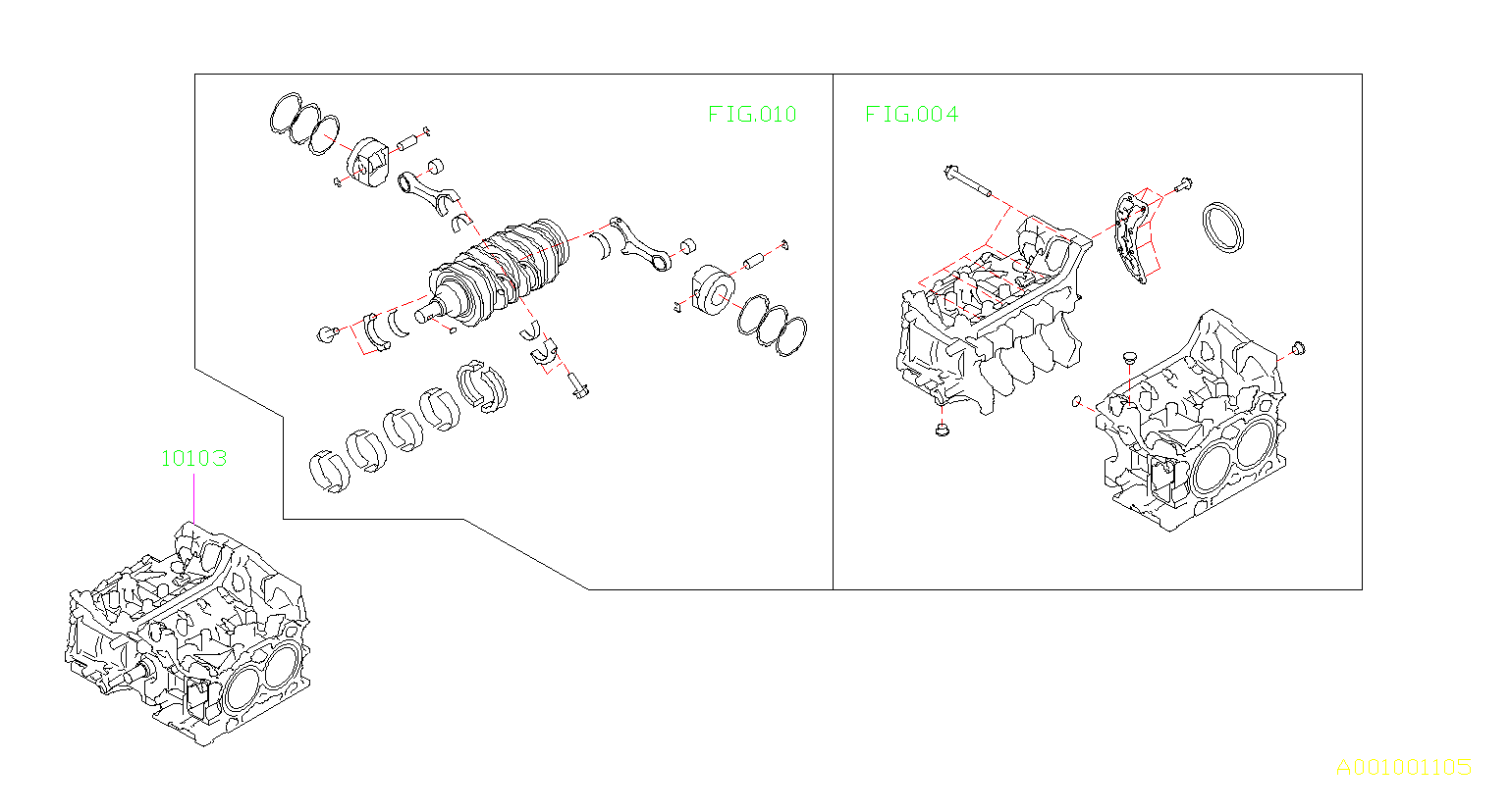subaru brz short block engine assembly